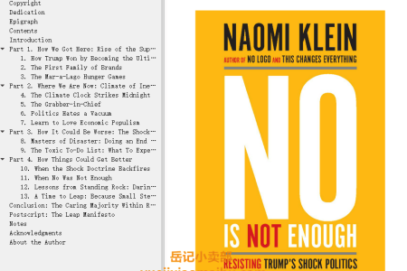 【配音频】No Is Not Enough: Resisting Trump's Shock Politics and Winning the World We Need by Naomi Klein(mobi,epub,pdf)