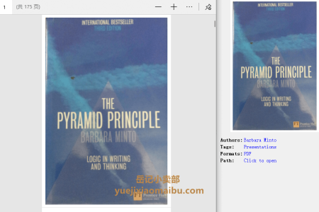 【电子书】The Pyramid Principle 3rd Edition: Logic in Writing and Thinking by Barbara Minto(pdf)