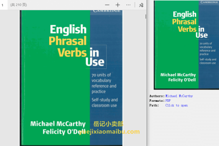 【电子书】English Phrasal Verbs in Use Intermediate (Professional English in Use) (English Phrasal Verbs in Use) by Michael McCarthy , Felicity O'Dell(pdf)