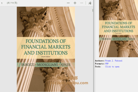 【电子书】Foundations of Financial Markets and Institutions 4th Edition by Frank J. Fabozzi, Franco P. Modigliani, Frank J. Jones(pdf)