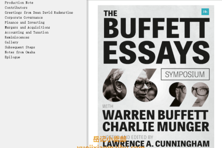 【电子书】The Buffett Essays Symposium: A 20th Anniversary Annotated Transcript by Lawrence A. Cunningham(mobi,epub,pdf)