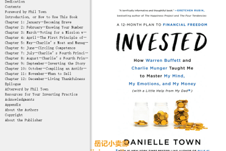 【配音频】Invested: How Warren Buffett and Charlie Munger Taught Me to Master My Mind, My Emotions, and My Money (with a Little Help from My Dad) by Danielle Town(mobi,epub,pdf)