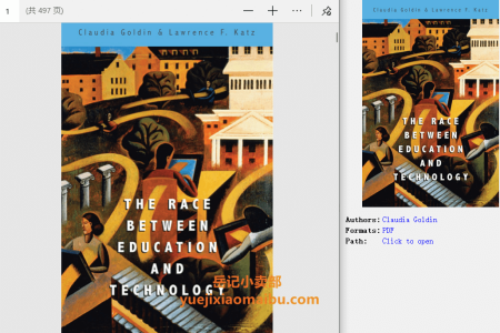 【电子书】The Race between Education and Technology by Claudia Goldin(pdf)
