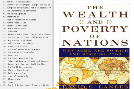 【电子书】The Wealth and Poverty of Nations: Why Some Are So Rich and Some So Poor by David S. Landes(mobi,epub,pdf)