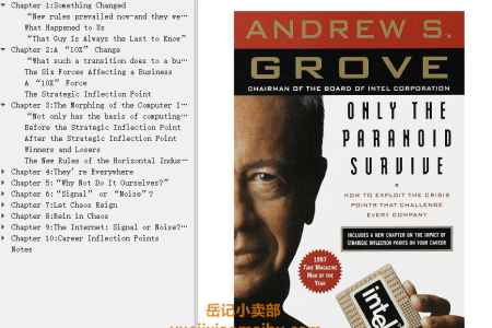 【电子书】Only the Paranoid Survive: How to Exploit the Crisis Points That Challenge Every Company by Andrew S. Grove(mobi,epub,pdf)