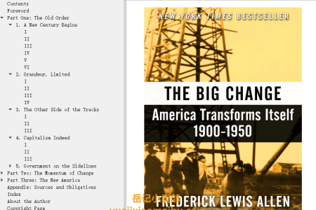 【电子书】The Big Change: America Transforms Itself, 1900–1950 by Frederick Lewis Allen(mobi,epub,pdf)