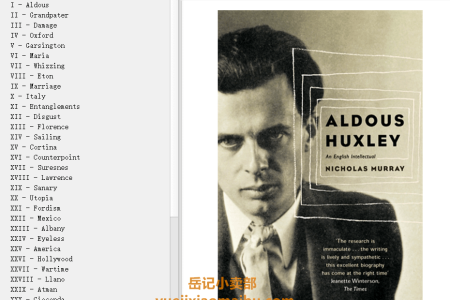【电子书】Aldous Huxley: A Biography by Nicholas Murray(mobi,epub,pdf)