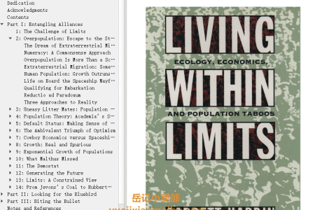 【电子书】Living within Limits: Ecology, Economics, and Population Taboos by Garrett Hardin(mobi,epub,pdf)