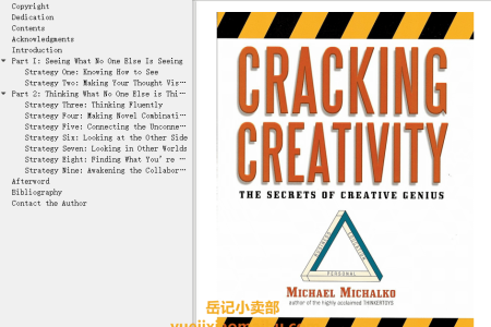 【电子书】Cracking Creativity: The Secrets of Creative Genius by Michael Michalko(mobi,epub,pdf)