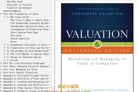 【电子书】Valuation 6th Edition: Measuring and Managing the Value of Companies by McKinsey & Company, Inc., Marc Goedhart, David Wessels(mobi,epub,pdf)