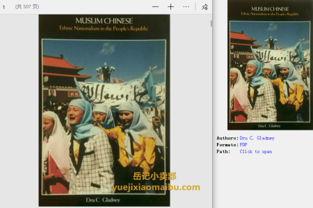 【电子书】Muslim Chinese: Ethnic Nationalism in the People's Republic by Dru C. Gladney(pdf)