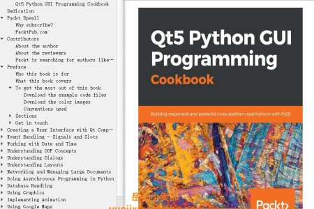 【电子书】Qt5 Python GUI Programming Cookbook: Building responsive and powerful cross-platform applications with PyQt by B.M. Harwani(mobi,epub,pdf)