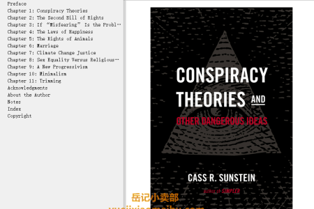 【电子书】Conspiracy Theories and Other Dangerous Ideas by Cass R. Sunstein(mobi,epub,pdf)