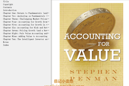 【电子书】Accounting for Value by Stephen H. Penman(mobi,epub,pdf)
