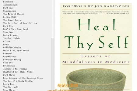 【电子书】Heal Thy Self: Lessons on Mindfulness in Medicine by Saki Santorelli(mobi,epub,pdf)