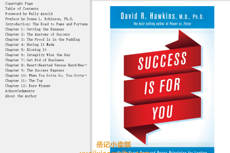 【配音频】Success Is for You: Using Heart-Centered Power Principles for Lasting Abundance and Fulfillment by David R. Hawkins(mobi,epub,pdf)