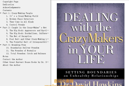【电子书】Dealing with the CrazyMakers in Your Life: Setting Boundaries on Unhealthy Relationships by David Hawkins(mobi,epub,pdf)