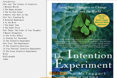 【配音频】The Intention Experiment: Using Your Thoughts to Change Your Life and the World by Lynne McTaggart(mobi,epub,pdf)