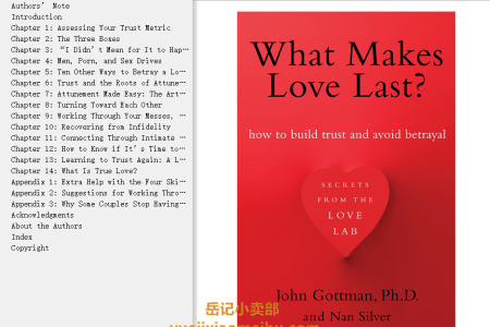 【配音频】What Makes Love Last?: How to Build Trust and Avoid Betrayal by John M. Gottman, Nan Silver(mobi,epub,pdf)