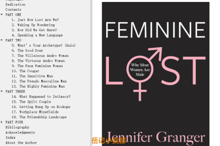 【配音频】Feminine Lost: Why Most Women are Male by Jennifer Granger(mobi,epub,pdf)