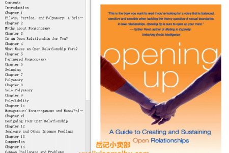 【配音频】Opening Up: A Guide to Creating and Sustaining Open Relationships by Tristan Taormino(mobi,epub,pdf)
