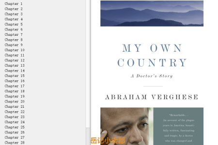 【电子书】My Own Country: A Doctor's Story by Abraham Verghese(mobi,epub,pdf)