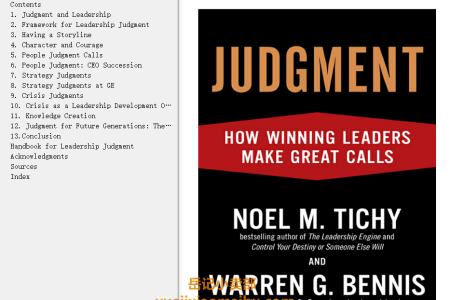 【配音频】Judgment: How Winning Leaders Make Great Calls by Noel M. Tichy, Warren G. Bennis(mobi,epub,pdf)