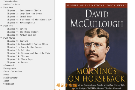 【配音频】Mornings on Horseback: The Story of an Extraordinary Family, a Vanished Way of Life, and the Unique Child Who Became Theodore Roosevelt(mobi,epub,pdf)