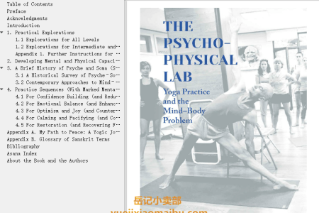 【电子书】The Psychophysical Lab: Yoga Practice and the Mind-Body Problem by Ohad Nachtomy, Eyal Shifroni(mobi,epub,pdf)