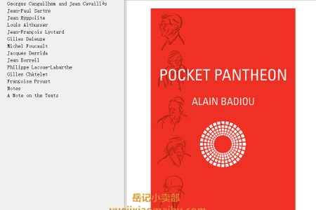 【电子书】Pocket Pantheon: Figures of Postwar Philosophy by Alain Badiou(mobi,epub,pdf)
