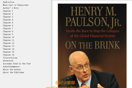 【配音频】On the Brink: Inside the Race to Stop the Collapse of the Global Financial System by Henry M. Paulson Jr.(mobi,epub,pdf)