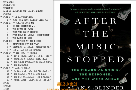 【配音频】After the Music Stopped: The Financial Crisis, the Response, and the Work Ahead by Alan S. Blinder(mobi,epub,pdf)