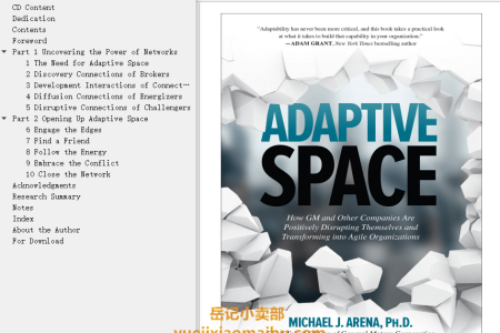 【配音频】Adaptive Space: How GM and Other Companies Are Positively Disrupting Themselves and Transforming Into Agile Organizations by Michael Arena(mobi,epub,pdf)
