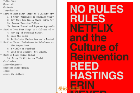 【配音频】No Rules Rules: Netflix and the Culture of Reinvention by Reed Hastings, Erin Meyer(mobi,epub,pdf)