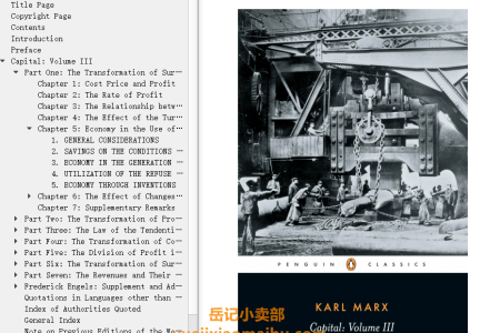 【配音频】Capital Vol 3: A Critique of Political Economy by Karl Marx(mobi,epub,pdf)