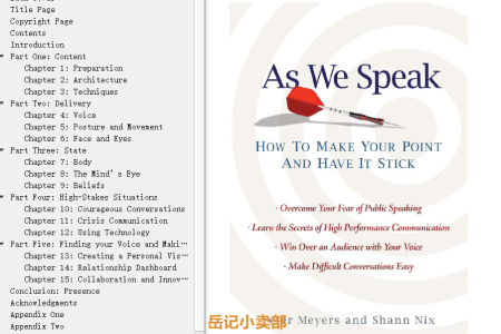 【电子书】As We Speak: How to Make your Point and Have It Stick by Peter Meyers, Shann Nix(mobi,epub,pdf)