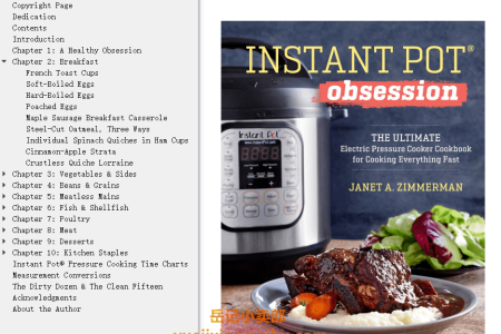 【电子书】Instant Pot Obsession: The Ultimate Electric Pressure Cooker Cookbook for Cooking Everything Fast by Janet A. Zimmerman(mobi,epub,pdf)