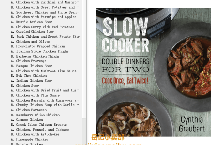 【电子书】Slow Cooker Double Dinners for Two: Cook Once, Eat Twice! by Cynthia Graubart(mobi,epub,pdf)