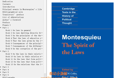 【电子书】Montesquieu: The Spirit of the Laws (Cambridge Texts in the History of Political Thought) by Charles de Montesquieu(mobi,epub,pdf)