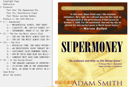 【配音频】Supermoney (Investment Classics) by Adam Smith(mobi,epub,pdf)