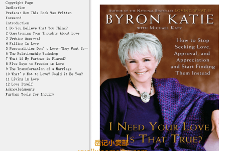 【配音频】I Need Your Love - Is That True?: How to Stop Seeking Love, Approval, and Appreciation and Start Finding Them Instead by Byron Katie , Michael Katz(mobi,epub,pdf)