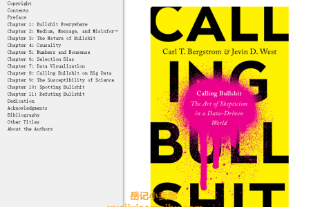 【配音频】Calling Bullshit: The Art of Skepticism in a Data-Driven World by Carl T. Bergstrom, Jevin West(mobi,epub,pdf)