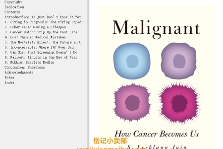 【电子书】Malignant: How Cancer Becomes Us by S. Lochlann Jain(mobi,epub,pdf)