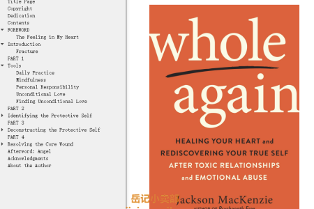 【配音频】Whole Again: Healing Your Heart and Rediscovering Your True Self After Toxic Relationships and Emotional Abuse by Jackson MacKenzie(mobi,epub,pdf)