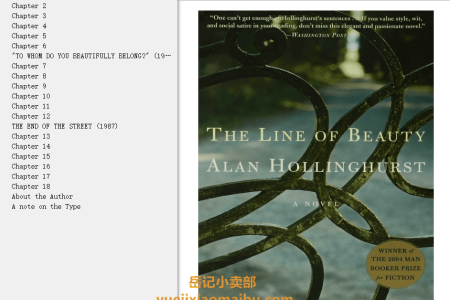 【配音频】The Line of Beauty by Alan Hollinghurst(mobi,epub,pdf)