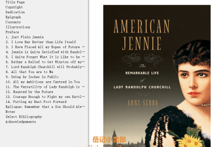 【配音频】American Jennie: The Remarkable Life of Lady Randolph Churchill by Anne Sebba(mobi,epub,pdf)