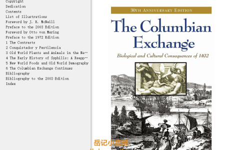 【电子书】The Columbian Exchange 30th Anniversary Edition: Biological and Cultural Consequences of 1492 by Alfred W. Crosby(mobi,epub,pdf)