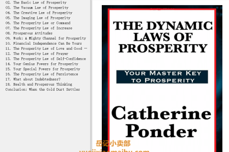 【电子书】The Dynamic Laws of Prosperity: Your Master Key to Prosperity by Catherine Ponder(mobi,epub,pdf)