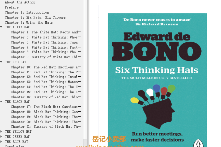 【电子书】Six Thinking Hats by Edward de Bono(mobi,epub,pdf)