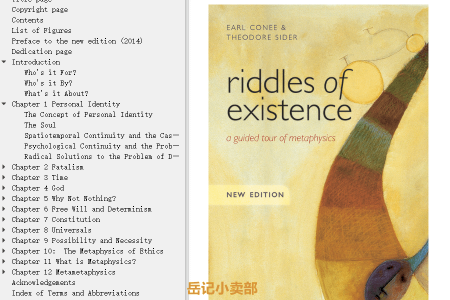 【电子书】Riddles of Existence: A Guided Tour of Metaphysics by Earl Conee, Theodore Sider(mobi,epub,pdf)